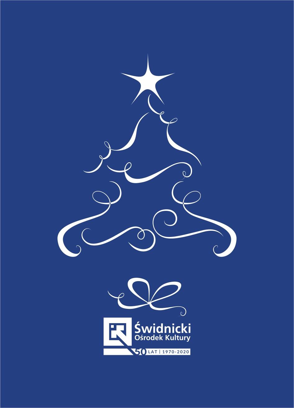 Plakat przedstawiający biały zarys choinki świątecznej na granatowym tle