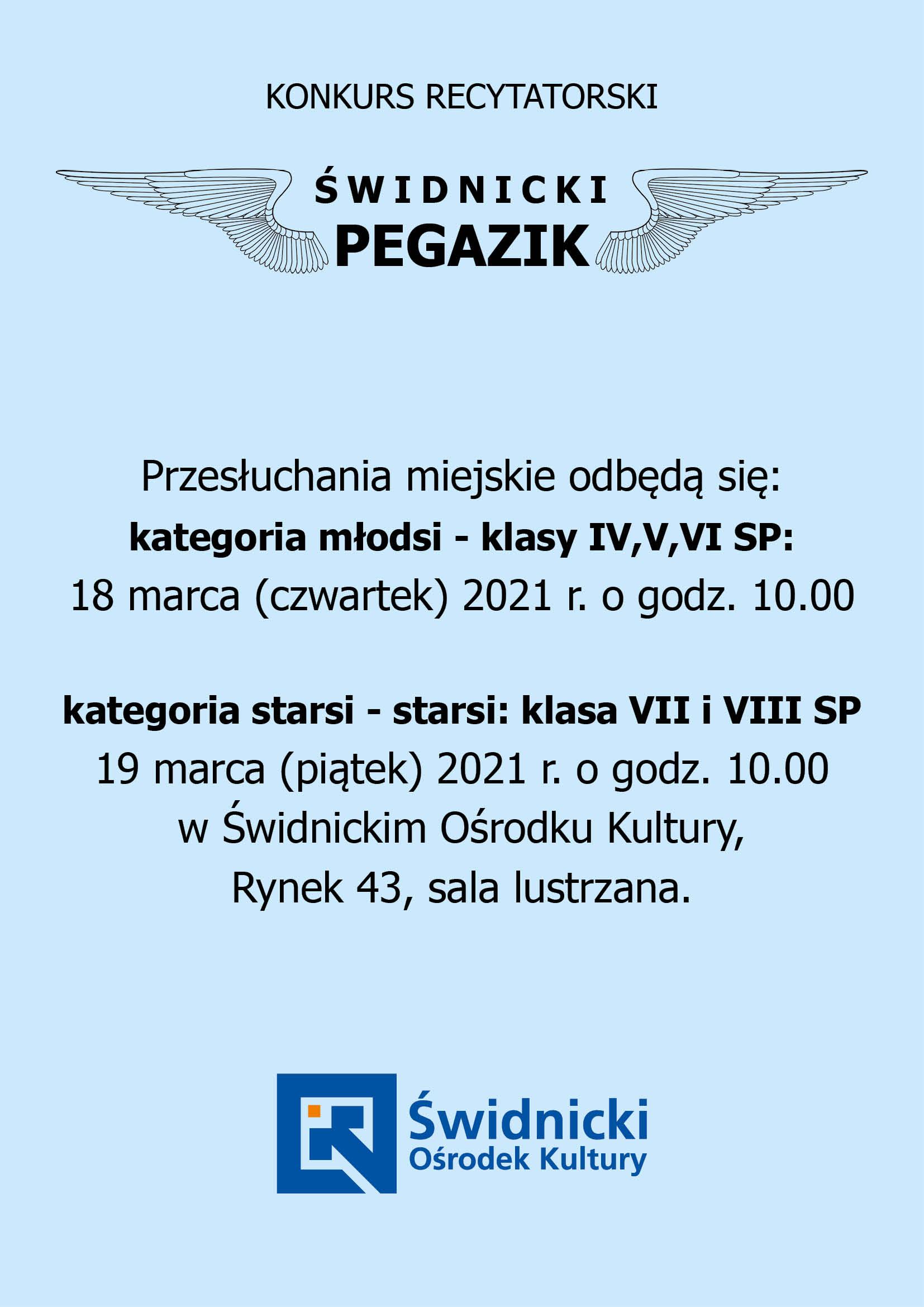 błękitna plansza z tytułem Pegazik