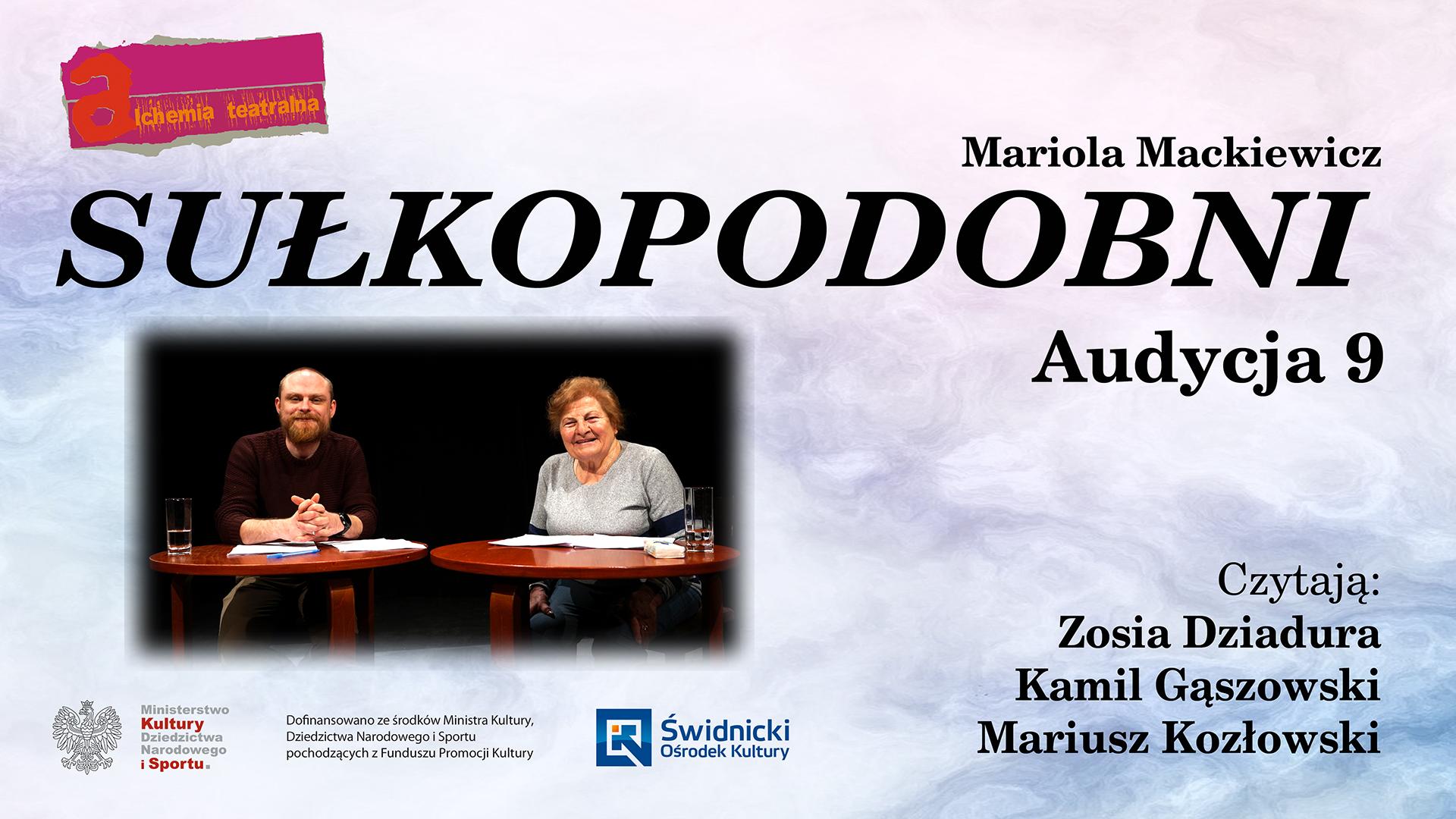 Zofia Dziadura i Kamil Gąszowski przy stoliku nad nimi napis Sułkopodobni