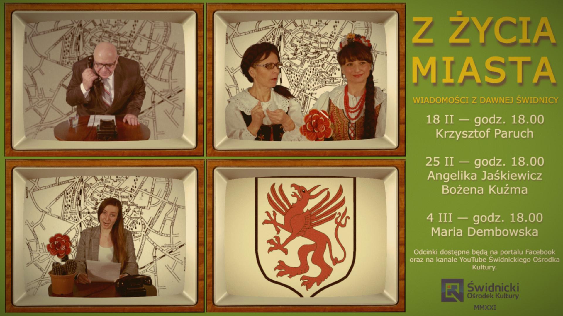 plakat przedstawiający cztery telewizory z epoki PRL z ostaciami w nimi, w czwartm herb Świdnicy w czasach PRL
