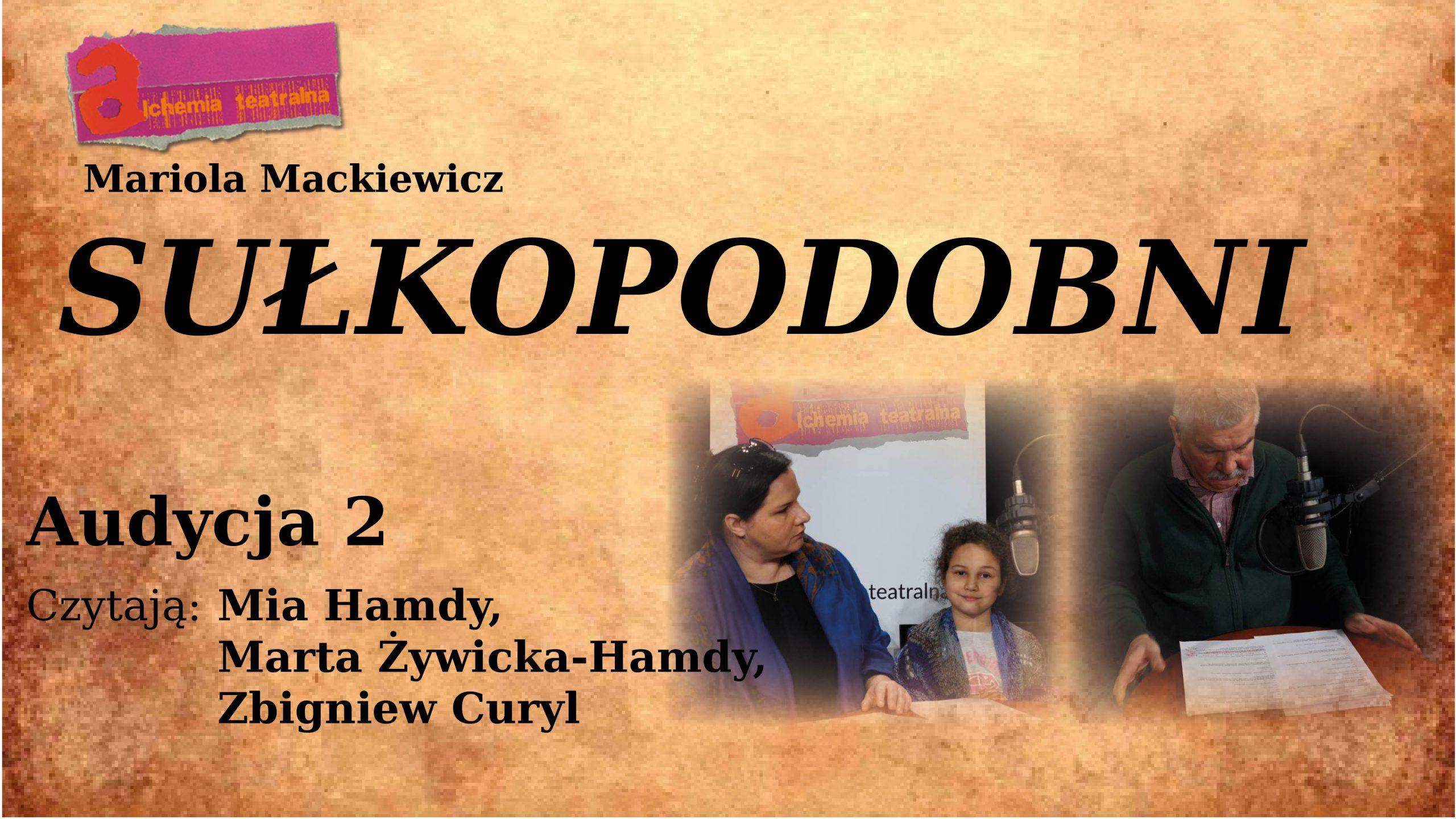 """plansza beżowa z napisem """"Sułkopodobni - audycja 2"""""""