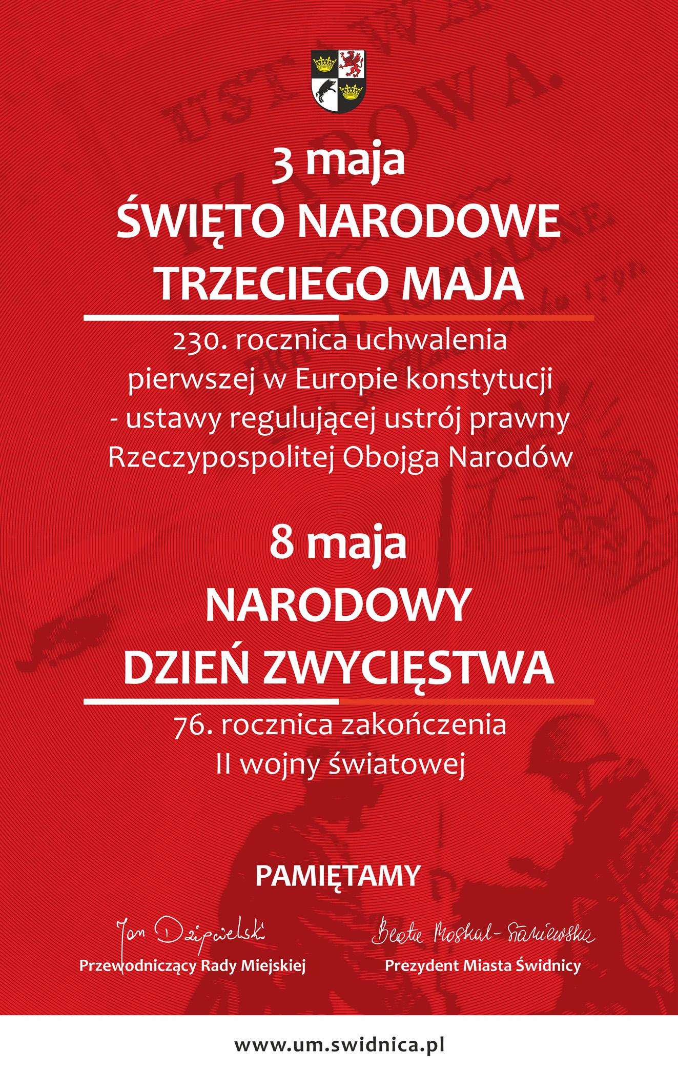 Czerwony plakat z białymi napisami z treścią przedstawioną w tekście na stronie poniżej
