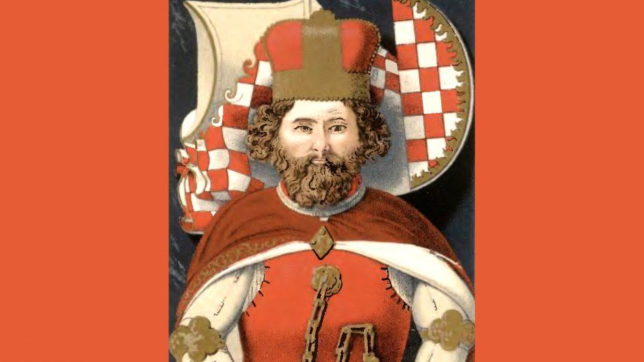 wizerunek księcia Bolka w czerwono złotej koronie i purpurowym płaszczu