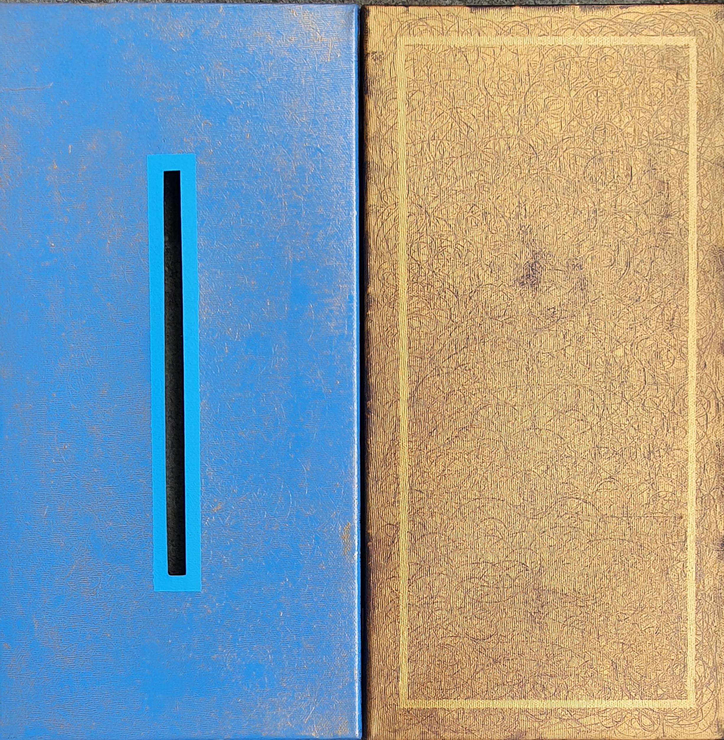 obraz abstrakcyjny niebiesko-złoty