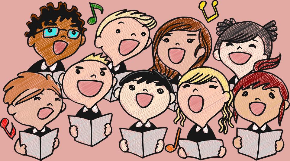 śpiewające dzieci - rysunek w stylu rysunku dziecięcego kredkami
