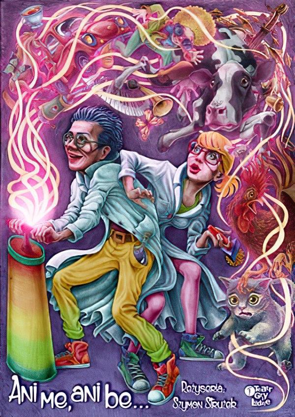 Dwie postaci męska i żeńska używają tajemniczego urządzenie emitującego różowe fale, w stylu kreskówki