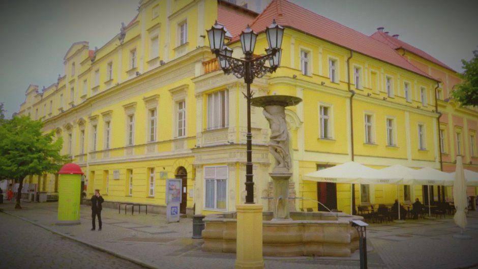 widok na budynek ŚOK na świdnickim rynku, z przodu fontanna i latarnia