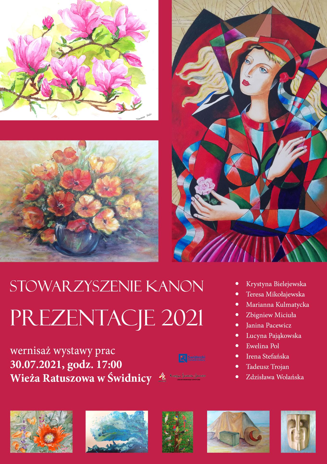obrazy z motywami kwiatowymi i portret kobiety